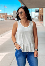 509 Broadway Stripe Basic Peplum Tank