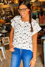 509 Broadway Star Print Woven Top