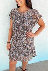 509 Broadway Floral Print Flutter Sleeve Dress