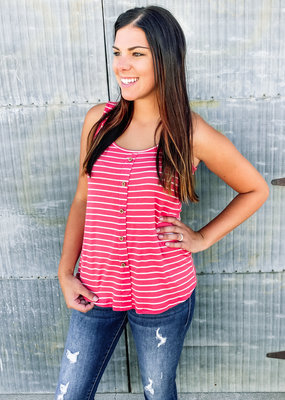 Stripe Tank With Front Buttons