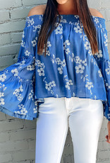 509 Broadway Floral Embroidered Bell Sleeve Top