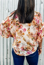 Floral Print Button Down Front Tie Top