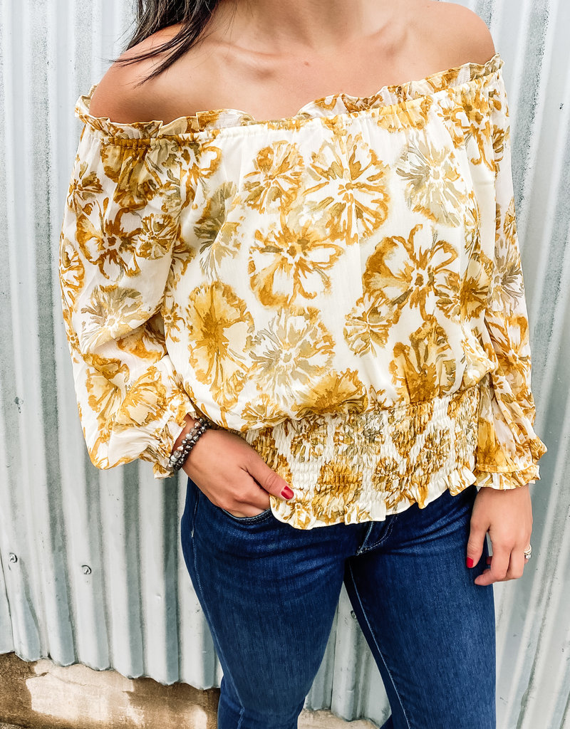 509 Broadway Boat Neck Printed Blouse