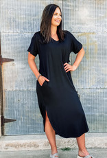 509 Broadway V-Neck Buttermilk Long Dress