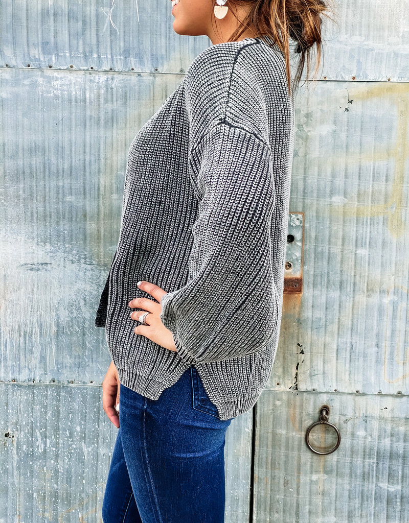 509 Broadway Washed Ribbed Knit Cardigan