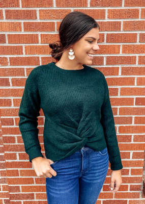 509 Broadway Front Knot Ribbed Sweater