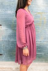509 Broadway Textured V-Neck Long Sleeve Babydoll Dress