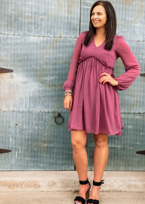 509 Broadway Textured V-Neck Long Sleeve Babydoll Dress