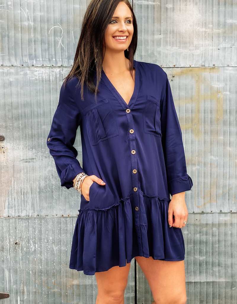 509 Broadway Button Down Roll Up Sleeve Tunic Dress