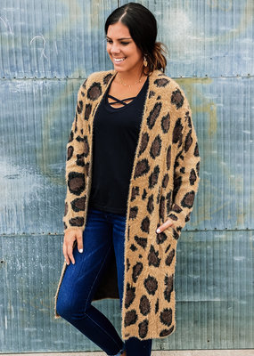 509 Broadway Long Sleeve Leopard Print Fuzzy Cardigan