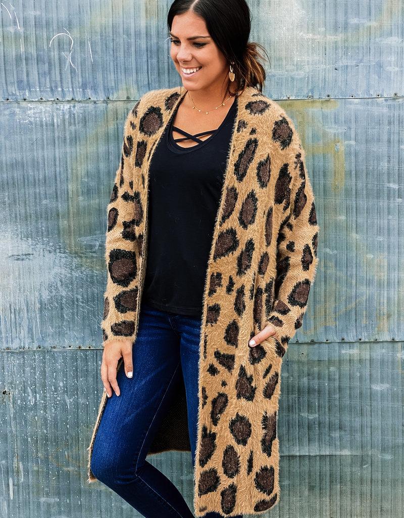509 Broadway Long Sleeve Leopard Print Fuzzy Cardigan