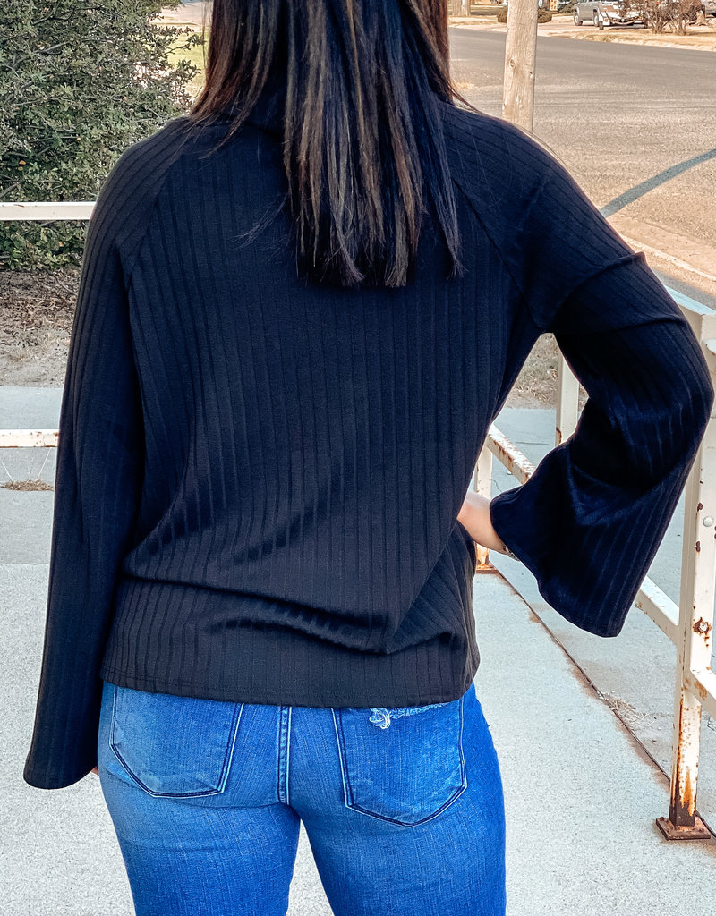 509 Broadway Turtle Neck Ribbed Top