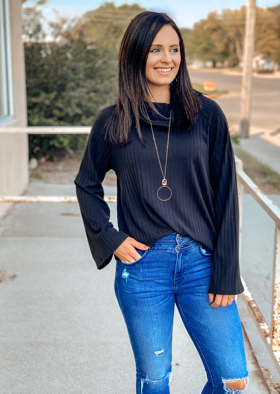 Capri Blue Turtle Neck Ribbed Top