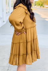 509 Broadway Baby Doll Ruffle Long Sleeve Dress