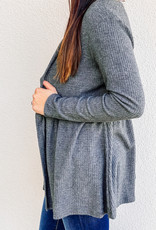 509 Broadway Lightweight Waffle Knit Open Front Cardigan