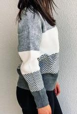 509 Broadway Striped V-Neck Sweater