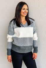 509 Broadway Striped V-Neck Sweater