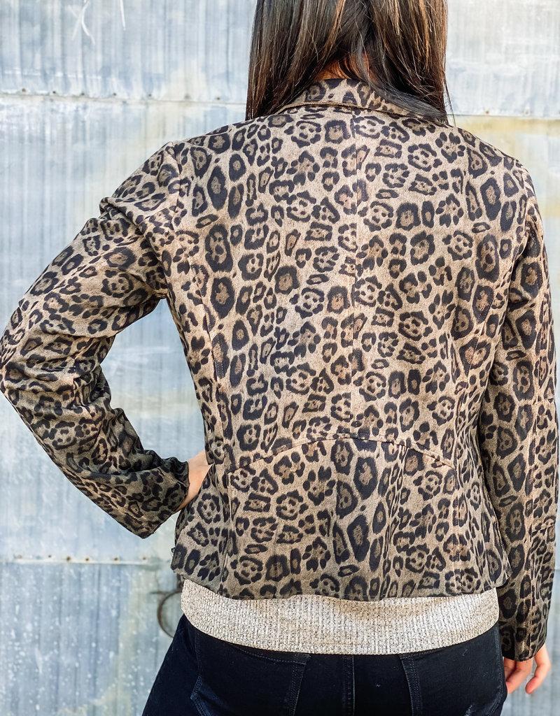 509 Broadway Washed Leopard Suede Moto Jacket