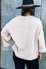509 Broadway Solid 3/4 Sleeve Scoop Neck Top