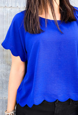 509 Broadway Scalloped Hem Short Sleeve Top