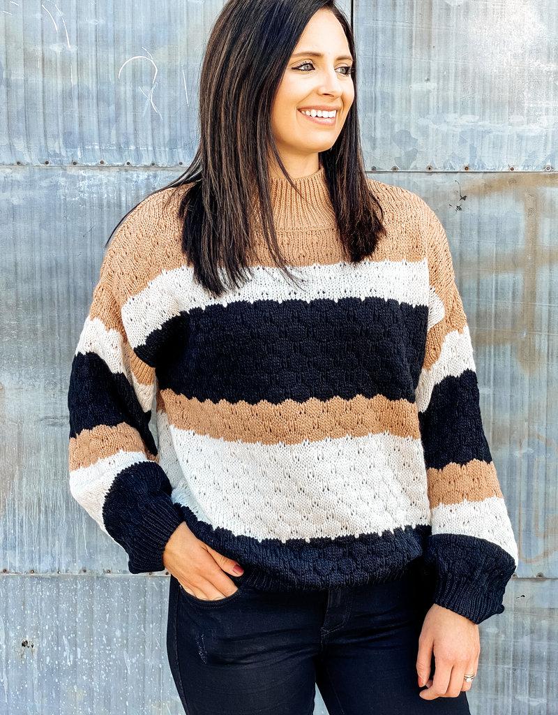 509 Broadway Turtleneck Color Block Knit Sweater