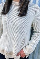 509 Broadway Chunky Rib Round Neck Sweater  30104 
