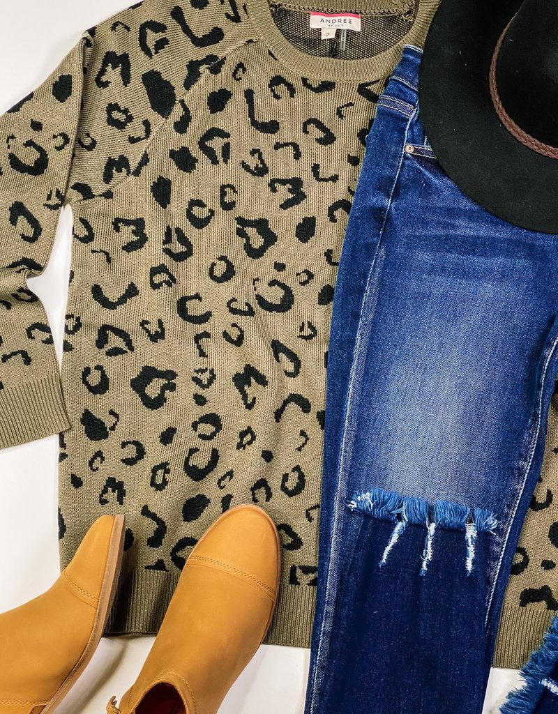 509 Broadway Leopard Contrast Neck Sweater {17424}