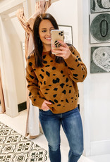 509 Broadway Animal Print Crew Neck Sweater