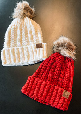 509 Broadway Furry Cuffed Beanie With Pom