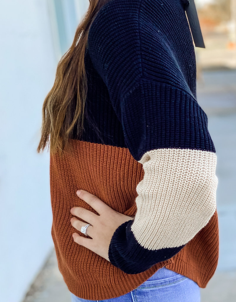 509 Broadway Mock Neck Color Block Sweater