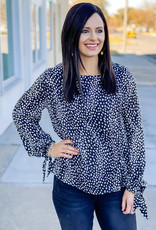 509 Broadway Tied Long Sleeve Printed Top