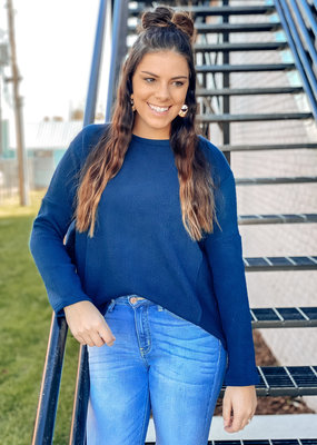 509 Broadway Long Sleeve Rib Knit Round Neck Top