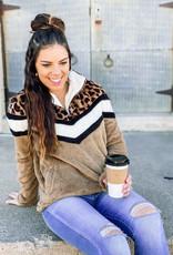 509 Broadway Leopard Chevron Fleece Pullover