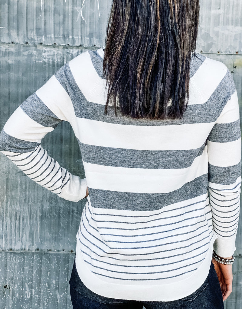 509 Broadway Round Neck Stripe Tulip Hem Sweater