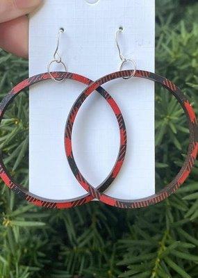509 Broadway Buffalo Wood Plaid Hoop Earrings