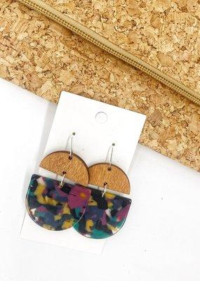 509 Broadway Jewel Arcylic Wood Deco Drop Earrings