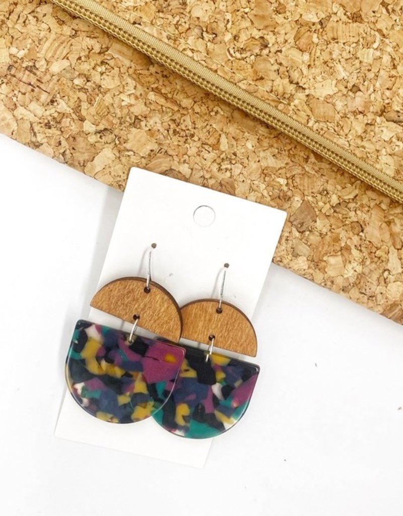 509 Broadway Jewel Arcylic Wood Deco Drop Earrings