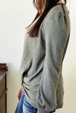 509 Broadway Long Sleeve Light Terry Knit Top Twisted Detail