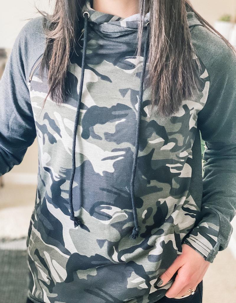 509 Broadway Double Hooded Zipper  Sweatshirt