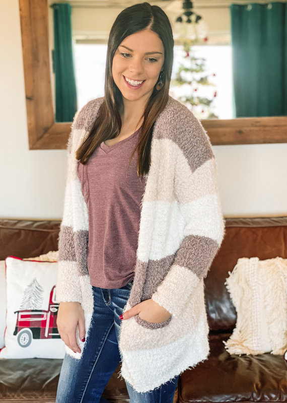 509 Broadway Soft Color Block Sweater Cardi