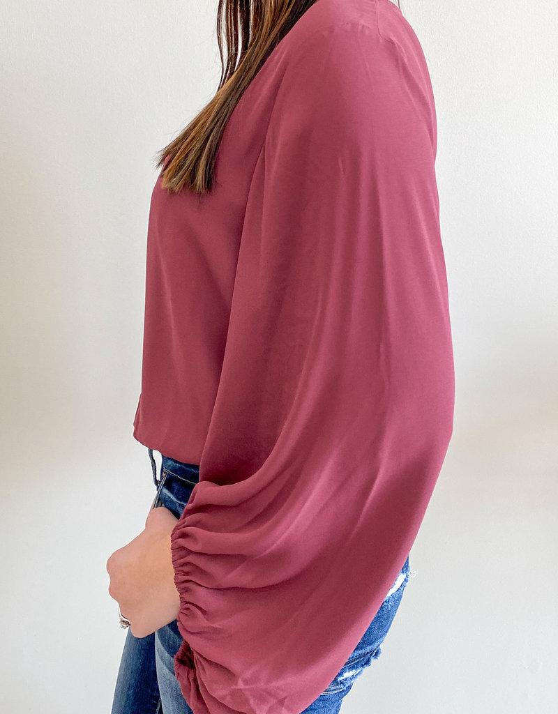 509 Broadway Chiffon Bubble Sleeve Bodysuit