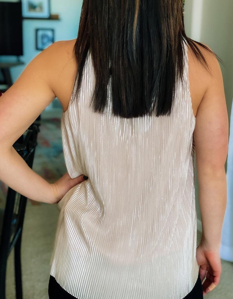 Lurex Pleated Sleeveless Top
