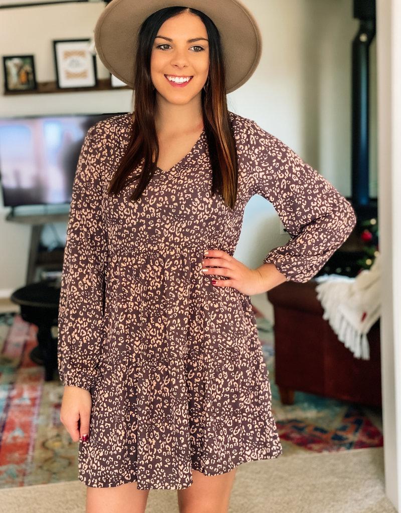 509 Broadway Babydoll Leopard Dress