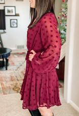 509 Broadway Long Sleeve Woven Dress Waist Tie Detail