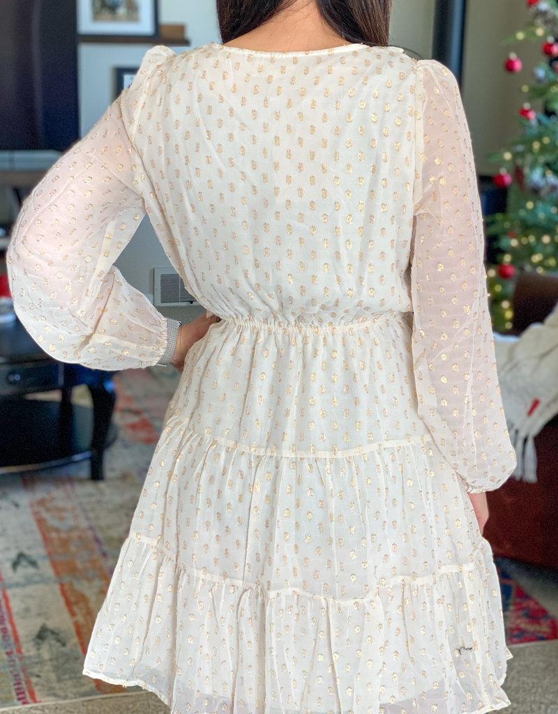 509 Broadway Foil Printed Chiffon Front Ruffle Dress