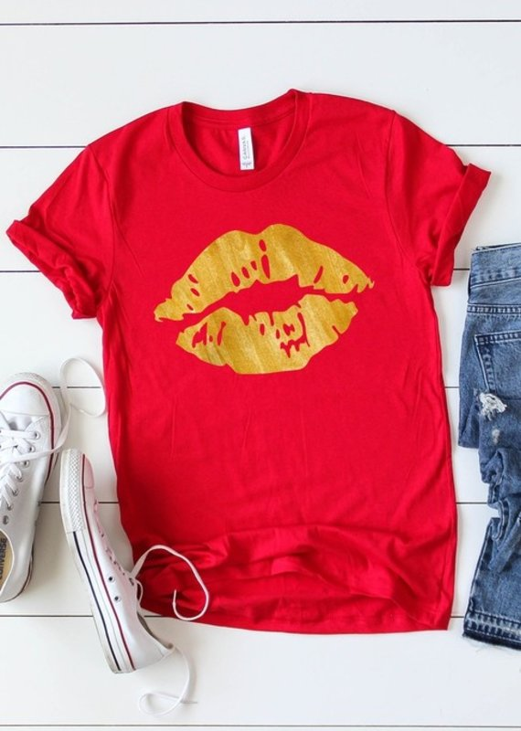 509 Broadway Pucker Up Gold Lips Graphic