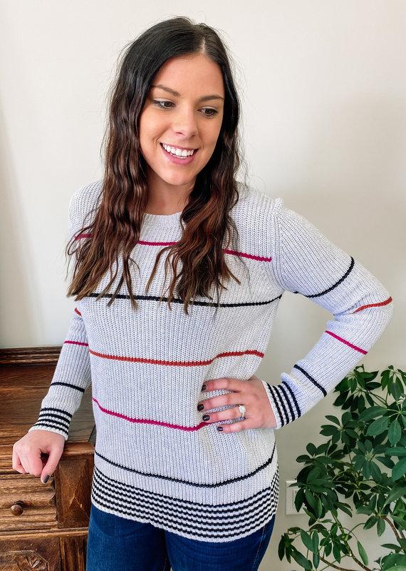 509 Broadway Light Weight Stripe Knit Sweat