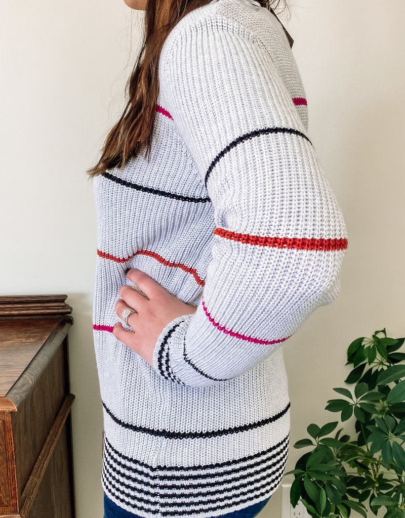 509 Broadway Light Weight Stripe Knit Sweater
