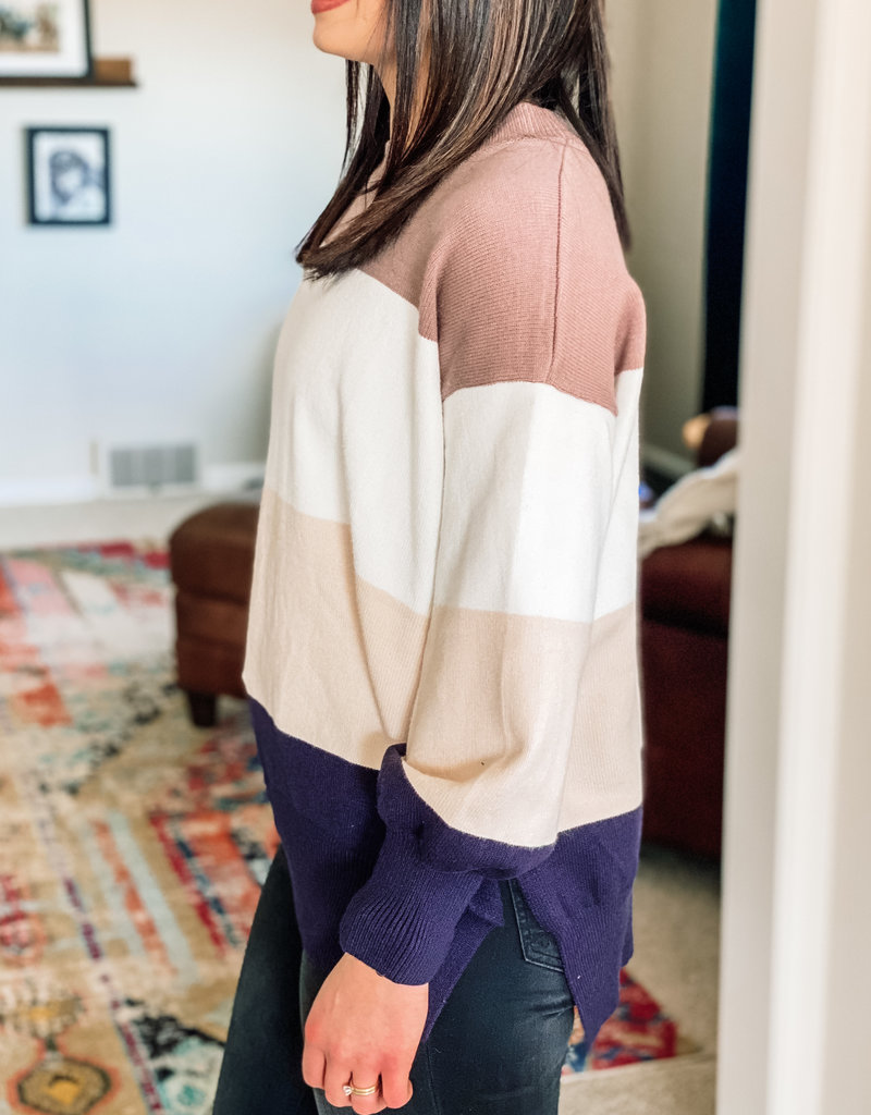 509 Broadway Color Block Knit Sweater