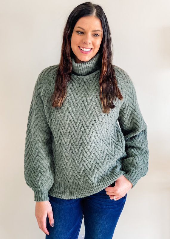 509 Broadway Chevron Textured Sweater